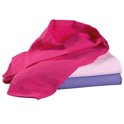 Bornino Lot de 3 langes en gaze 70 x 70 cm couche en tissu, rose/rose vif/violet