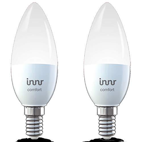 Innr E14 Smart LED Kerze, kompatibel mit Philips Hue* und Alexa (bridge erforderlich), dimmbar, Warmweiß bis Tageslicht, 2200K - 5000K, 2-Pack, RB 248T-2