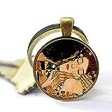 Glaskuppel Halskette Gustav Klimt Halskette Klimts Mutter und Kind Anhänger Glas Kunst Bild 2 Schlüsselanhänger