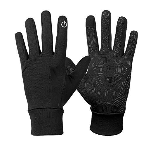 Gants d'extérieur élastique écran tactile gants chauds hommes et femmes Sports équitation anti-dérapant gants antigel coupe-vent,Black