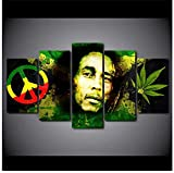 Bob Marley Rock Estrella De La Música Lienzo Arte De Pared 5 Piezas Imagen Imagen Pared Hd Impresión Decoración Del Hogar Imágenes 5 Paneles Póster 150 * 80 Cm