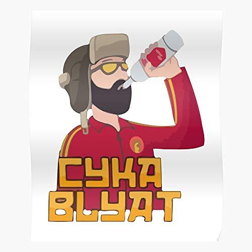 Translation Meaning Nahui Hat Vs Asian Slav Meme English Merch Cyka Blyat Squat in Russian | Impressive and Trendy Poster Print Decor Wall or Desk Mount Options