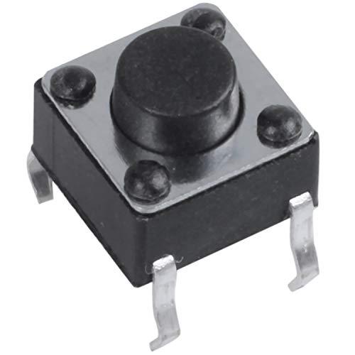 Yaootely 50 Pcs 6x6x5mm 4-Pin DIP Montaje Orificio Pasante Momentaneo Tactil Interruptor de Boton