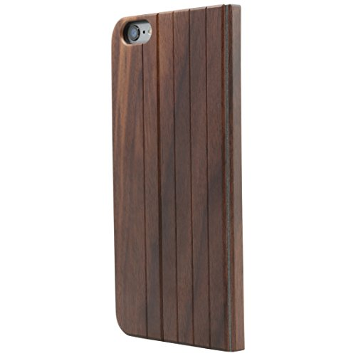 Ultratec Schutzhülle für iPhone 6 Plus und 6s Plus, klappbares Flip Case, Naturholz-Hülle, Walnussholz