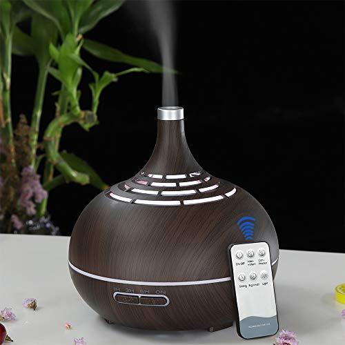 DEPNEE Control remoto Difusor de grano de madera blanca 400ml Difusor de aromaterapia 7 luces de noche de color LED Cambio con temporizador Humidificador de niebla fría