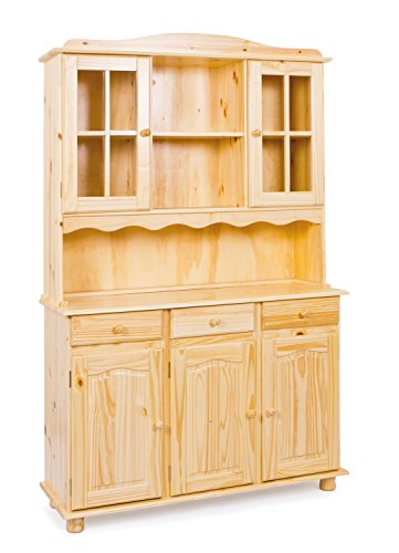 Inter Link Buffet Vitrinenschrank Küchenschrank Geschirrschrank Esszimmerschrank Kiefer Massivholz Natur lackiert