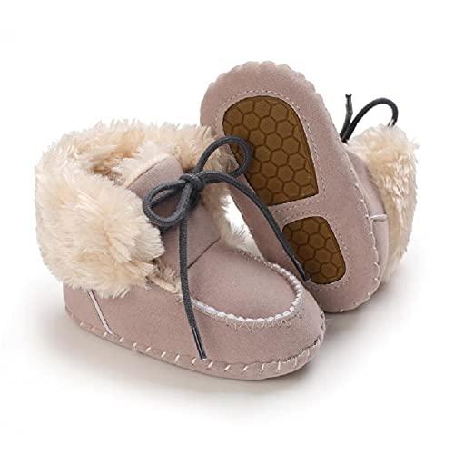 Fnnetiana Newborn Baby Warm Winter Snow Boots Toddler Soft Sole Anti-Slip Infant Prewalker Unisex Nursling Crib Shoes(0-6 Months, Grey)