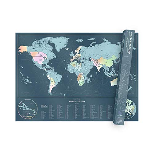 Gift Ready Tube Packaging Scratch Off World Map By Northern Travel Gear Perfect Size To Frame Scratch Map Includes Bonus Precision Pen