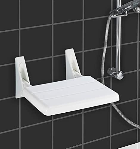 WENKO Duschklappsitz Secura - Duschsitz zum Klappen, 120 kg Tragkraft, Kunststoff (ABS), 35 x 19 x 36 cm, Weiß
