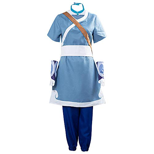 Tongnian Anime Avatar The Last Airbender Cosplay Disfraz Katara Cosplay Disfraz Camisa Azul Pantalones Conjunto Completo Halloween