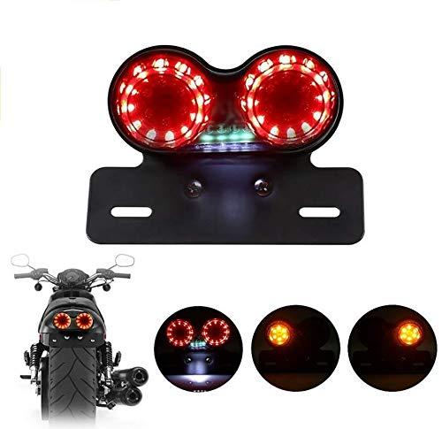 Motorrad Rücklicht mit Schwarz Heavy Duty Motorrad Bremse Stop Running Light Indikatoren Blinker Lichter, LED Motorrad Signal Rücklicht Bremse Halt Laufendes Licht für Quads, Dirt Bikes und ATVs