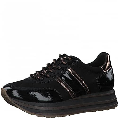 Tamaris Damen Sneaker, Frauen Low-Top Sneaker,lose Einlage,Comfort Lining,Freizeitschuhe,Turnschuhe,Laufschuhe,schnürschuhe,Black Comb,38 EU / 5 UK