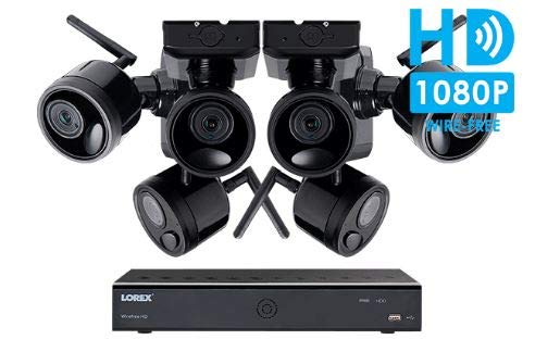 Lorex 6 Channel Wireless Camera System, with 6 HD Rechargeable Wire Free Cameras, 95' Night Vision,...
