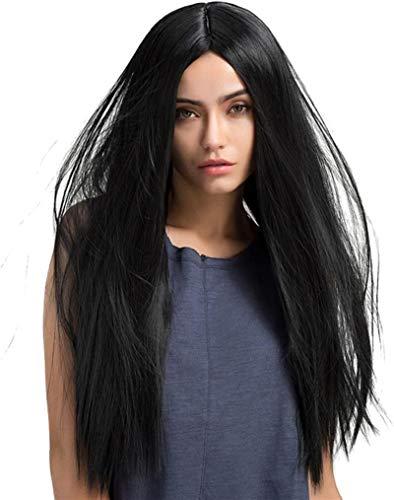 LCNING Pelucas de pelo largo natural recto peluca peluca peluca peluca Cosplay partido Hairpiece para el día a día