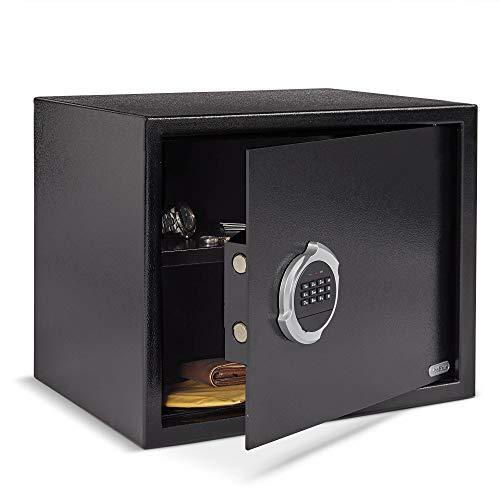 VonHaus Safe 42,5 L – Sicherer Metalltresor für Wertgegenstände, Pässe, Schlüssel, Geld, Schmuck – Elektronisches Zahlenschloss mit Notfallschlüsseln
