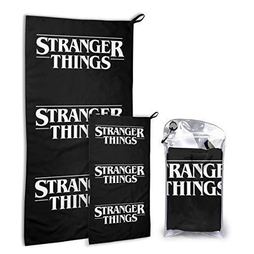 HKYP Juego de Toallas de Secado rápido Schnelltrocknendes Handtuchset Stranger Thing White 2 Packs Quick Dry Towel Set with Hook Microfiber Beach Towels Travel Towel- Fast Drying,Ultra Absorbent and