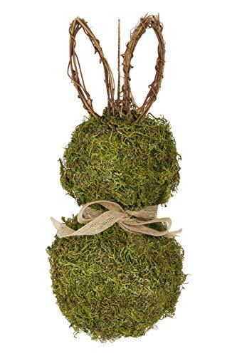 HEITMANN DECO Türkranz Hase mit Schleife und Blume - Tischdeko, Fensterdeko, Wanddeko - Frühling, Ostern, Osterdeko - Natur, Grün