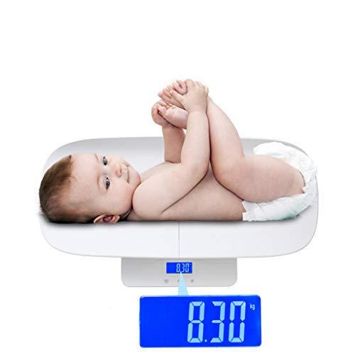 GAOLEI Escala electrónica para bebés con Placa de báscula Función de Bloqueo Manual Sensor de inspiración de Alta precisión antivuelco Carga máxima 100 KG tamaño 73.5X27.5cm Blanco
