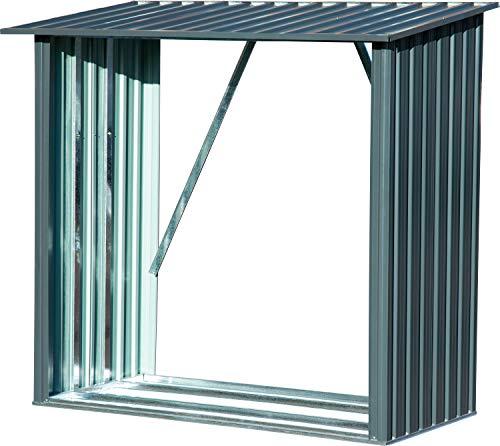 Großes Kaminholzregal Madera aus Metall, XXL-Unterstand für Brennholz, 163 x 83 x 154 cm