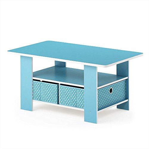 Furinno Andrey Mesa De Centro, Madera compuesta, Azul Claro/Azul Claro, 48 x 80 x 39.62 cm