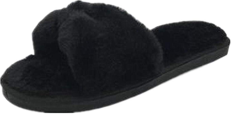 Women's Winter Faux Fur Soft Slide Flat Fleece Slipper Flip Flop