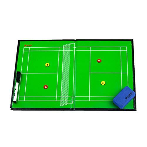 ZJIAN Badminton-Taktikbrett magnettafel wiederbeschreibbar faltendes leichtes tragbares Leder Professional Coach Lieferungen Badminton Taktiktafel für Taktiken und Spielanpassungen