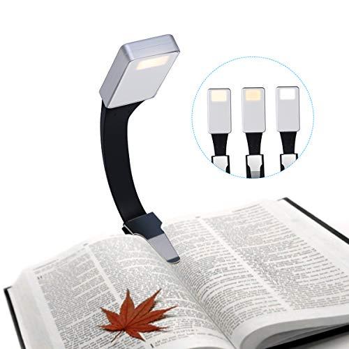 ACTOPP Luce da Lettura Notturna 3 Luminosità Regolabile, Piccolo Lampada Lettura Flessibile, Luce da Lettura per kindle. La lampada Ricaricabile Tramite USB