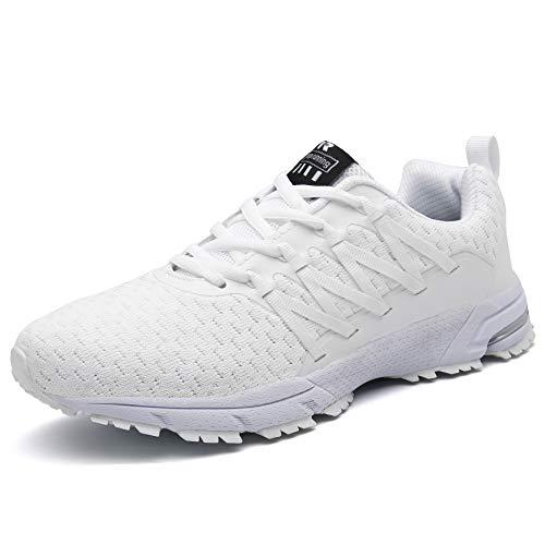 SOLLOMENSI Laufschuhe Damen Herren Sportschuhe Straßenlaufschuhe Sneaker Joggingschuhe Turnschuhe Walkingschuhe Schuhe 45 EU B Weiß