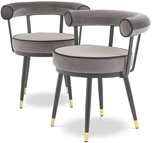 Casa Padrino Conjunto de sillas de Comedor de Lujo Gris/Negro/latón 66 x 59 x A. 70 cm - Sillas de Comedor con Terciopelo Fino - Muebles de Comedor
