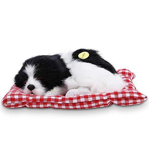 Plüsch Hundespielzeug Kinder Schöne Stofftiere Simulation Tier Puppe Plüsch Schlafende Hunde Mit Ton für Kinder(Schwarz-Weiß)