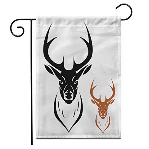 Adowyee 12'x 18' Garden Flag Moose Deer Head Silhouette Elk Reindeer Mascot Antelope Tattoo Outdoor Double Sided Decorative House Yard Flags