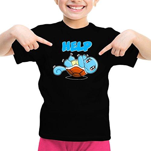 Okiwoki T-Shirt Enfant Fille Noir Pokémon parodique Carapuce : Help !!! (Parodie Pokémon)