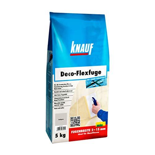 Knauf Deco-Flexfuge – Wand Fliesen-Mörtel auf Zement-Basis: pflegeleicht dank Knauf Perleffekt, schnell-härtend, passend zur Fliesenfarbe, Baligrau, 5-kg