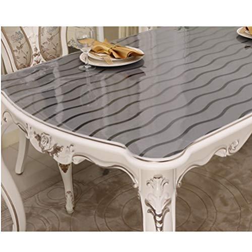 Tovaglia PVC Tovaglia Isolante monouso in Vetro Morbido Tovaglietta Trasparente for tavolino Tovaglietta Impermeabile e antiolio Resistente all'olio Tingting (Color : Wave, Size : 60 * 120cm)
