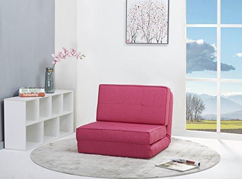 Schlafsessel Gästebett Jugendsessel Bettsessel (Stoffbezug pink rosa klein)