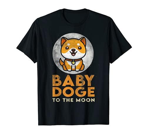 Baby Doge a la Luna criptomoneda criptomoneda Shiba Doge Moneda Camiseta
