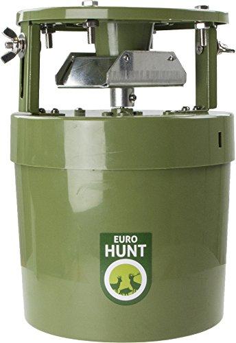 EUROHUNT Futterautomat Light 6V, 14,5 x 14,5 x 22,5cm, Automat für Tierfütterung, wetterfest, grüner ABS-Kunststoff, eignet sich für eine Vielzahl an Futterarten