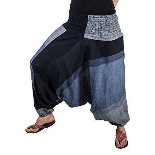 KUNST UND MAGIE Unisex orientalische Yoga Freizeit Haremshose, Farbe:Grau/Schwarz