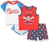 Quiltex Boys' Toddler Baseball 2 Tees and 2 Shorts Set 4 Pc, 3-6 Months