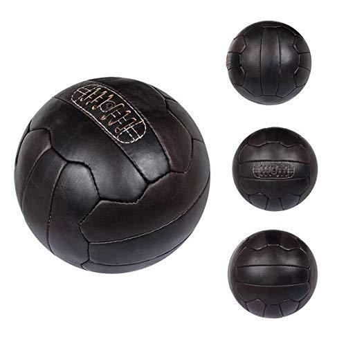 FNine - Balón de fútbol vintage (piel envejecida), 5, Café Oscuro