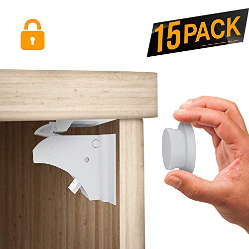 TinyPatrol 15 Pack Magnetic Cabinet Locks Child Safety - Baby Proofing