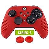 eXtremeRate Funda de Silicona Mando Xbox One Elite Protector Antideslizante Tacto Suave Piel de Controlador Cubierta Skin Case para Nuevo Xbox One Elite Controller Serie 2 con Tapas de Joyticks(Rojo)