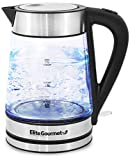 Elite Platinum EKT-602 BPA Free Glass Ultimate Electric Kettle Cordless 360 Base, Stylish Blue LED Interior, Handy Auto Shut-Off Function  Quickly Boil Water For Tea & More, 1.7L, Stainless Steel