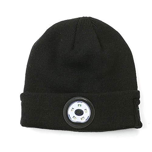 LCSD Bluetooth Beanie Bluetooth LED Sombrero de gorro iluminado con USB Recargable para hombres y mujeres, brillo ajustable Sombrero de antorcha de faro, tapa de punto de abrigo de invierno unisex con