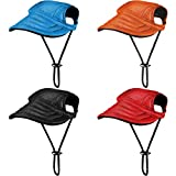 Geyoga 4 Pieces Pet Baseball Hat Outdoor Dog Sports Cap with Ear Holes and Adjustable Neck Strap Dog Sunbonnet Dog Visor Cap for Dogs Pets (Red, Orange, Blue, Black, Small)