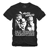 Old School Gangsters - T-Shirt Olsenbande Mächtig Gewaltig DDR (Schwarz, L)