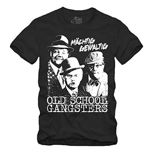 Old School Gangsters - T-Shirt Olsenbande Mächtig Gewaltig DDR (Schwarz, XXL)