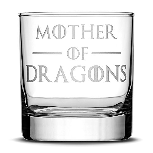 Integrity Bottles Premium Game of Thrones Whiskey Glass, Mother of Dragons, Hand Etched 10oz Rocks Glass, Made in USA, Highball Gifts, Sand Carved