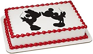 Deco Mickey & Minnie Mouse Kissing Silhouette Edible Picture Cake Topper