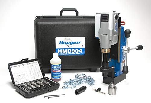 Hougen HMD904 115 Volt Magnetic Drill With Coolant Bottle Plus 1/2' Drill Chuck, Adapter and 12002 Rotabroach Cutter Kit